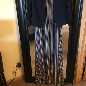 Maxi dress with navy blazer